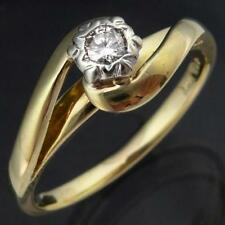 Elevated Solid 10k Yellow GOLD SOLITAIRE DIAMOND WRAPAROUND RING Sz O