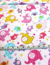 COTTON FLANNEL ELEPHANTS PINK WHITE QUILT FABRIC