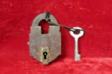Brass Lock and Key Vintage Antique Old Iron Padlock Collectible BG-79