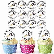 Darts 24 Personalised Pre-Cut Edible Birthday Cupcake Toppers Decorations