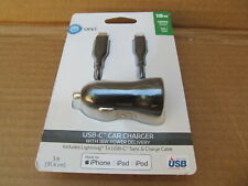 Onn 18W USB-C car charger & USB-C to Lightning Cable for Apple iPhone iPad iPod