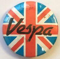VESPA Union Jack Old OG Vtg 1980`s Button Pin Badge MOD Scooter(NOT ska punk)
