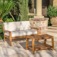 Christian Outdoor Acacia Wood Loveseat and Coffee Table Set with Cushions