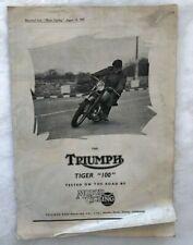 1947 TRIUMPH MOTORCYCLE Tiger 100 VINTAGE ADVERTISING Motor Cycling