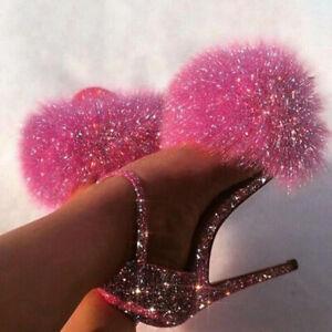 UK Ladies Fluffy Fur Strap Ankle Strappy Open Toe Sandal High Heel Shoes Siz 3-8
