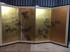 Vintage Japanese Chinese 4 Panel Folding Screen Byobu Painted 76x36 GOLD signed