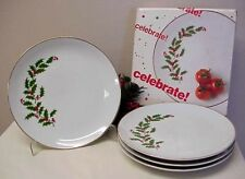 Vintage Holly Berry Salad Plates Dessert Porcelain (4) The Market Place Box NICE