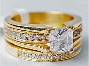 Gold Wedding/Engagement Half Eternity Ring Set Lab Diamonds Princess Cut