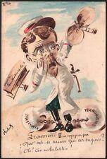 Roberty. Russie; le Tzar Nicolas II alias Froussard II Aquarelle originale 1909