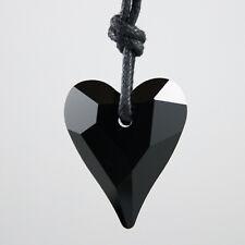 Jet Negro Corazón Cristal Collar Colgante Hecho Con Elementos Swarovski genuinos