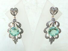 Gold Silver Earring Pair Rajasthan India Victorian Diamond Green Amethyst 14 K