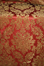 LUXURIOUS Woven Chenille Damask Designer Fabric 1.75 yards RED BRONZE / GOLD