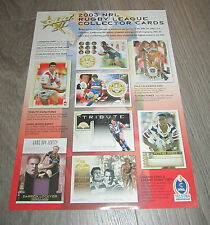 2003 NRL RUGBY SELECT XL OFFICIAL CARD FLYER - TEAM SET SIGNATURE