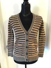 Madewell Caramel/Black Striped Wool Cardigan Sweater S
