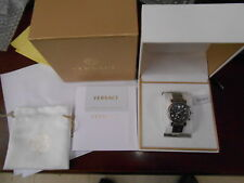 VERSACE VLB08 0014 Day Glam Stainless Steel ladies black mother of pearl dial