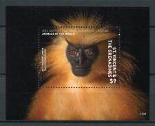 St Vincent & Grenadines 2017 MNH Wild Animals of World 1v S/S Monkeys Stamps
