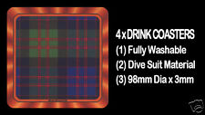 4  x  SCOTTISH TARTAN - CLAN - MacDONALD - DRINK COASTERS - Re-usable Washable
