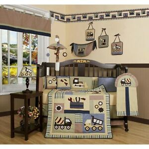 Construction Trucks 13 pcs Crib Bedding Set Baby Boy Nursery Quilt Bumper Diaper