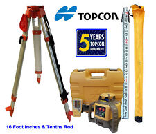 New Topcon RL-H5A Rotary Laser Level with Tripod and 16 Foot Rod - Inch & Tenth