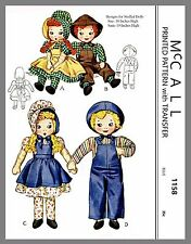 Cute Vintage McCall Boy Girl Stuffed Doll & Clothes Fabric Sewing Pattern # 1158