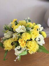 Artificial Silk Flower Grave Pot Arrangement Yellows Handmade