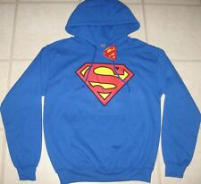 Men S Small SUPERMAN SHIELD LOGO HOODY Sweatshirt DC COMICS BLUE New NWT Teen XL