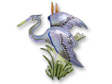 Zarah Zarlite Great Blue HERON PIN Silver Plated Enamel Brooch Shore Bird + Box