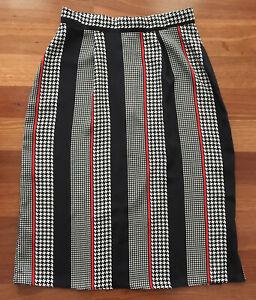 Ladies Vintage Retro 80's Midi A Line Black White Skirt Size 10