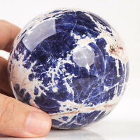 489g 75mm Large Natural Blue Sodalite Quartz Crystal Sphere Healing Ball Chakra