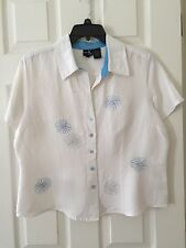 Dina K Women's White Top Blouse Button Down Shirt Size Large Embroidered Flowers