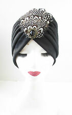 Black Gold Feather Turban Headpiece Vintage 1920s Flapper Great Gatsby Hat V90