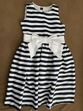 Girls Party Dress Navy/white Age 10