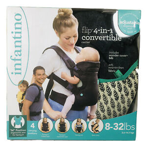 Infantino Flip 4-in-1 Baby Carrier Ergonomic Convertible 8-32lbs Bib Black BNIB