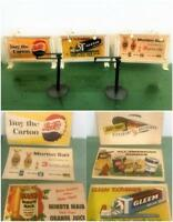 Miniature Vtg HO & O Model Scale 1956 Billboard Kellogg Premium Lot 3 Double Ads