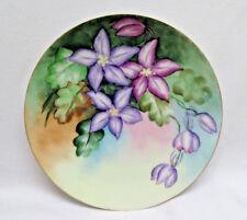 Vintage Signed Bavaria Floral Plate ~ Purple Fuchsias