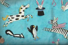 Nancy Wolff Animals Gone Wild turquoise Kaufman fabric