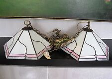 Pair of Tiffany Style Stained Glass Shade Ceiling Pendant Lamps Lights. Fittings