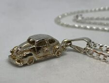 Pre Owned 925 Sterling Silver VW Beetle Pendant And Chain Mexico
