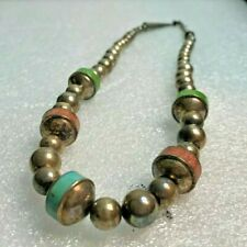 JAY KING DTR GASPEITE & TURQUOISE 925 STERLING SILVER BEAD NATIVE NECKLACE