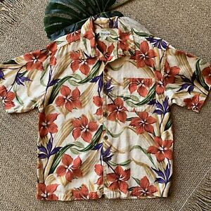 Mens Large True Grit Button-Up Short Sleeve Hawaiian Print Camp Shirt