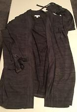 *Women's Charter Club Open Cardigan Sweater L Gray Long Sleeve Bell Cuff Ties