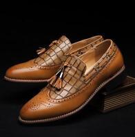 Vintage Men Leisure Wing Tip Carved Loafers Brogue Formal Tassel New Dress Shoes