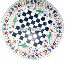 """20"""" White Marble Side Coffee Chess Table Top Marquetry Floral Inlay Game Decor"""