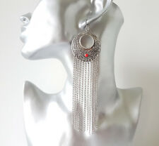 Gorgeous 12.5cm long silver tone & red boho - ethnic style chain drop earrings