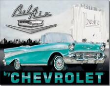 1957 Chevy Bel Air Metal Ad Sign Picture Auto Shop Repair Garage Diner Gift USA