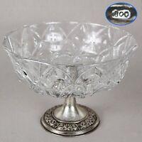Antica Alzata centrotavola in argento 800 e cristallo molato fruttiera alzatina