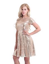 Women's Short Sleeve Dress Cocktail Party Evening Dress Formal Sequins Dress 12