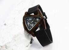 Fashion Triangle Ebony wood Case Electronic Quartz Watch leather band gift box