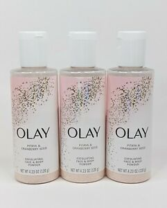 Olay Face & Body Powder Pitaya & Cranberry Seed Exfoliating 4.23 oz ea