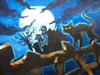 Painting Halloween Moon Night Haunted House Black Cat ACEO Art